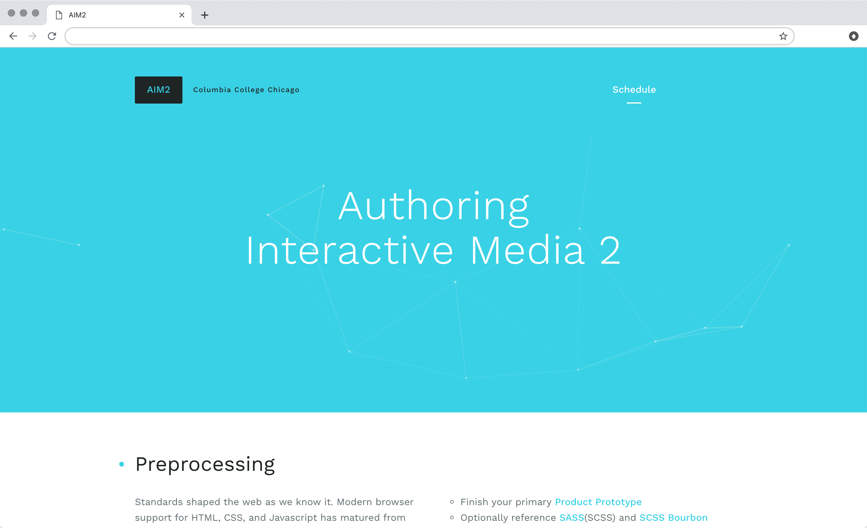 Columbia College Authoring Interactive Media 2 course website design
