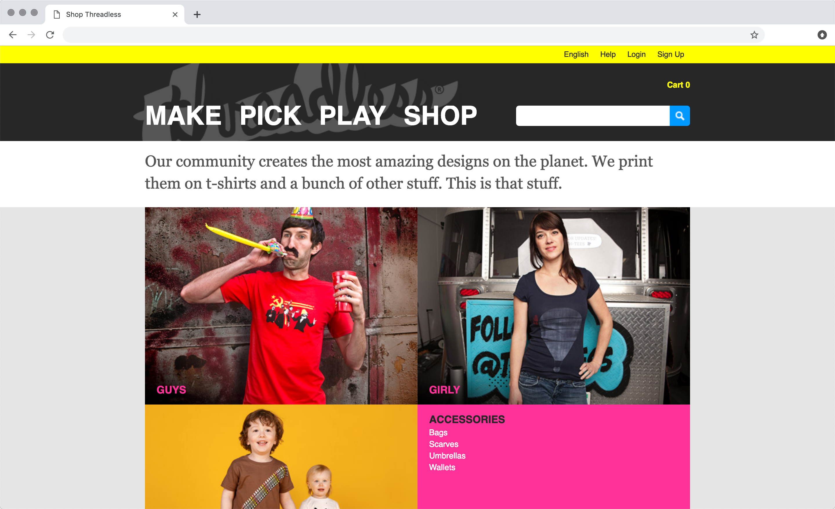 threadless website development